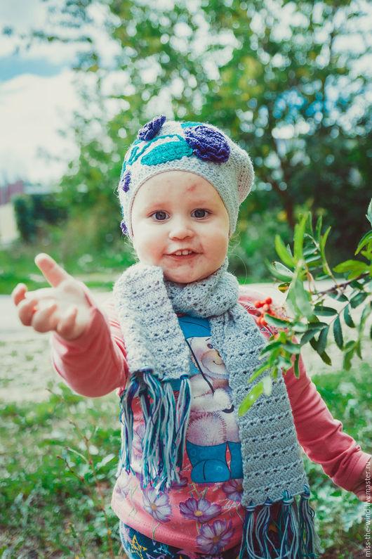 Детские аксессуары ручной работы. Ярмарка Мастеров - ручная работа. Купить Комплект детский берет+шарф. Handmade. Комбинированный, шарф для девочки