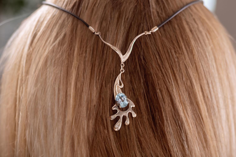 Aqua silver necklace, Necklace, Yaroslavl,  Фото №1