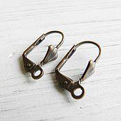 Материалы для творчества handmade. Livemaster - original item Earrings with a lock on copper, brass (art. 2641). Handmade.