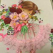Картины и панно ручной работы. Ярмарка Мастеров - ручная работа Девочка с букетом. Handmade.
