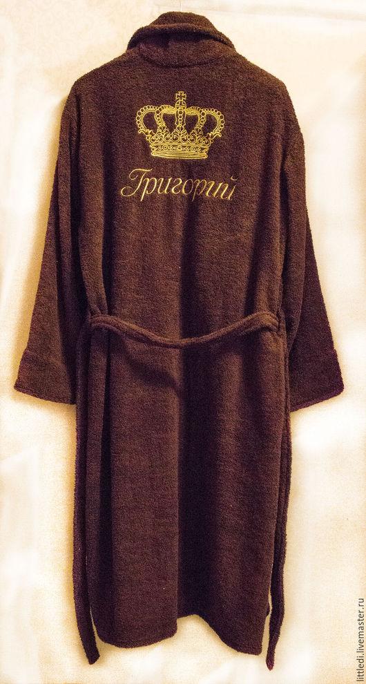 Халаты ручной работы. Ярмарка Мастеров - ручная работа. Купить Махровый халат с именной вышивкой. Handmade. Коричневый, халат на заказ