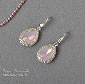 Украшения handmade. Livemaster - original item Bead earrings with crystals Pink opal. Handmade.