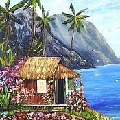 """Картины и панно handmade. Livemaster - original item """"Huts on the shore"""" oil Painting. Handmade."""