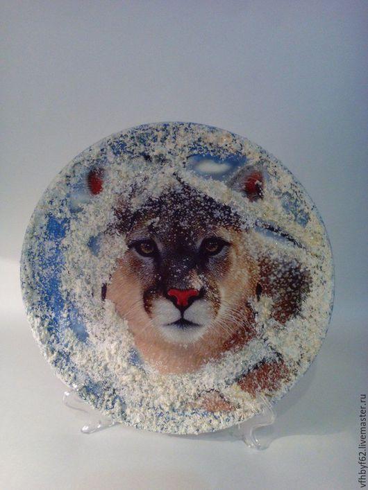 """Животные ручной работы. Ярмарка Мастеров - ручная работа. Купить Тарелка декоративная """"Зима в лесу"""". Handmade. Комбинированный, Тарелка декоративная"""