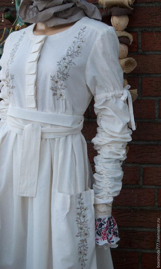 Платья ручной работы. Ярмарка Мастеров - ручная работа. Купить платье стиль бохо handmade. Handmade. Белый, хлопок 100%