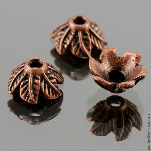 Шапочки для бусин в тибетском стиле Листья для использования в сборке украшений\r\nМатериал сплав\r\nЦвет античная медь