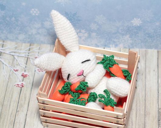 Миниатюра ручной работы. Ярмарка Мастеров - ручная работа. Купить Морковные сны вязаная игрушка амигуруми Зайчонок сплюшка. Handmade.