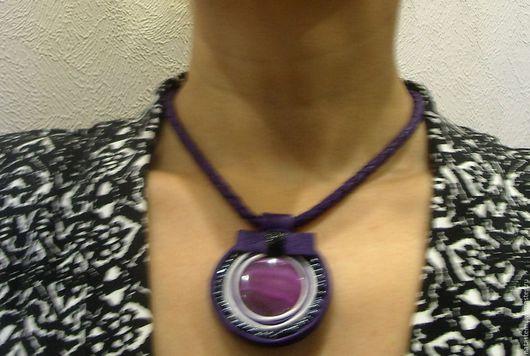 """Колье, бусы ручной работы. Ярмарка Мастеров - ручная работа. Купить Колье """"Фиолетовый медальон"""". Handmade. Тёмно-фиолетовый"""