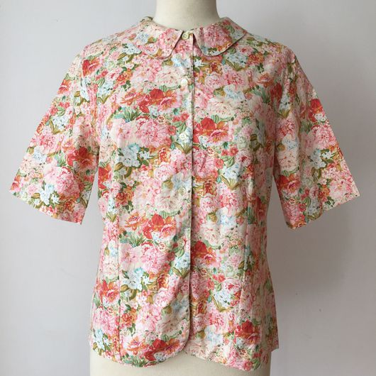 Одежда. Ярмарка Мастеров - ручная работа. Купить рубашка CACHAREL с цветочным рисунком. Handmade. Винтаж, пионы, розовая рубашка