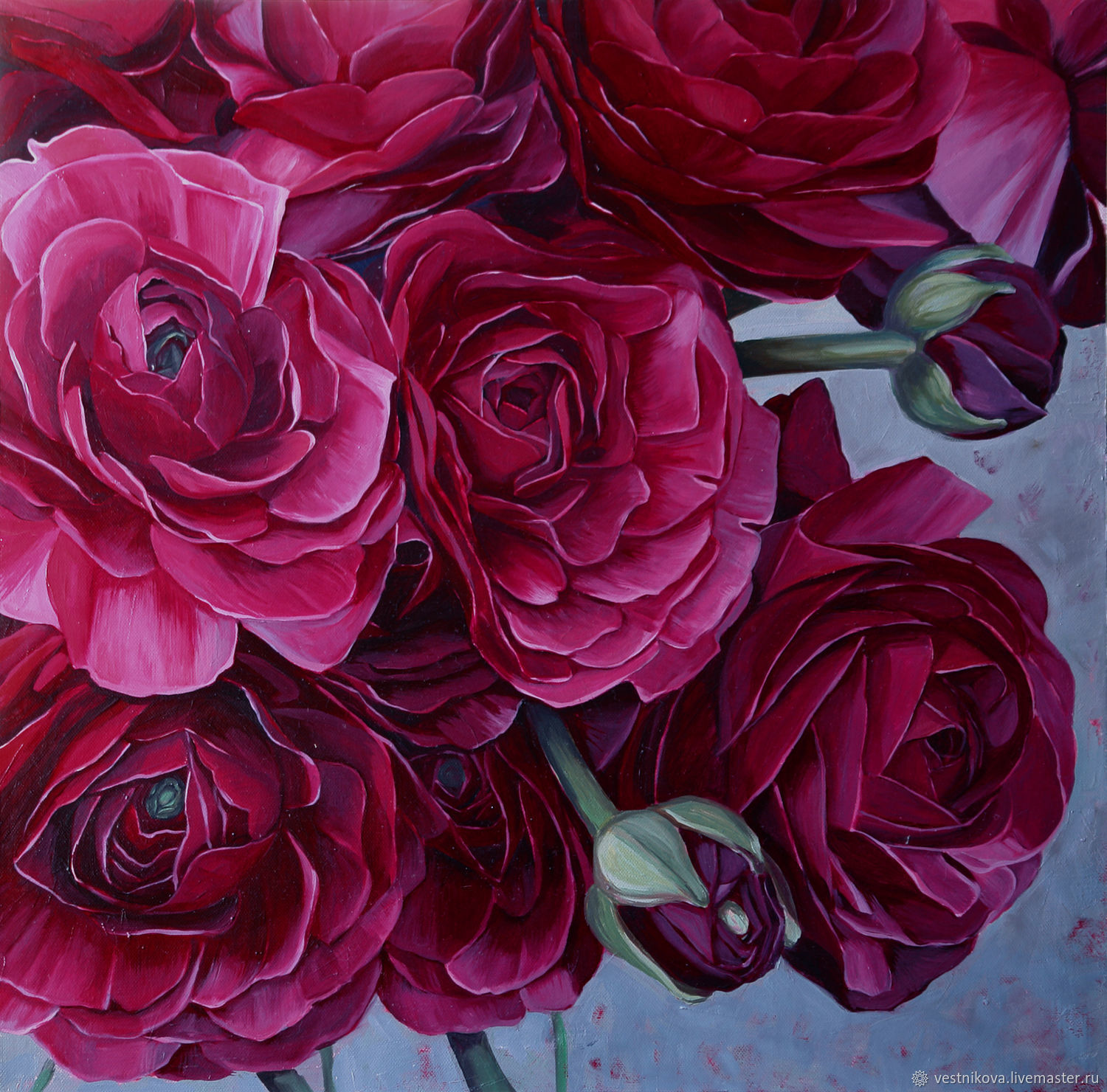 Painting 'Purple ranunculuses' oil on canvas 60h60cm, Pictures, Moscow,  Фото №1