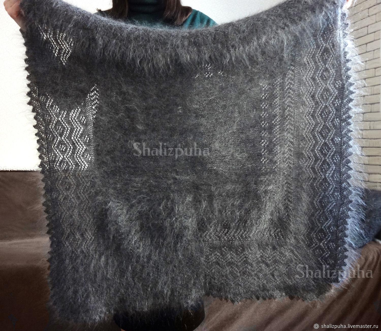 Grey hand-knitted down shawl with a pattern, 52, Shawls, Orenburg,  Фото №1