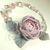Работы для детей, handmade. Livemaster - original item Fairy Cloud Rose. Necklace and brooch-flower for girls. Handmade.