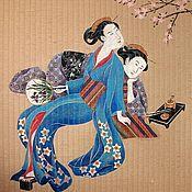 Картины и панно ручной работы. Ярмарка Мастеров - ручная работа Панно - рулонная штора «Две девочки». Handmade.