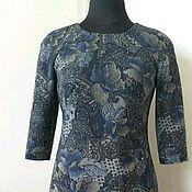 Одежда ручной работы. Ярмарка Мастеров - ручная работа 007:Платье приталенное с принтом из твида, прямое повседневное платье. Handmade.