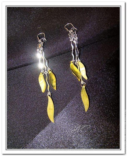 """Серьги ручной работы. Ярмарка Мастеров - ручная работа. Купить Серьги """"Дикая Орхидея"""". Handmade. Желтый, янтарные украшения"""