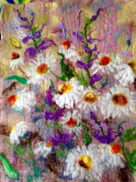Картины цветов ручной работы. Ярмарка Мастеров - ручная работа. Купить Валяная картина Нежные ромашки. Handmade. Шерсть 100%