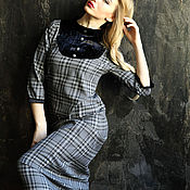 Одежда ручной работы. Ярмарка Мастеров - ручная работа Платье длинное серая клетка. Handmade.