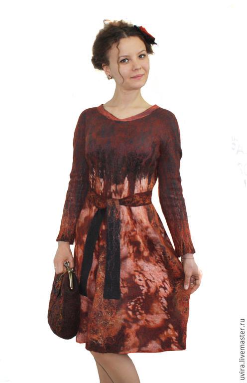 """Платья ручной работы. Ярмарка Мастеров - ручная работа. Купить """"Кокетка""""платье - авторский войлок. Handmade. Абстрактный, войлок ручной работы"""