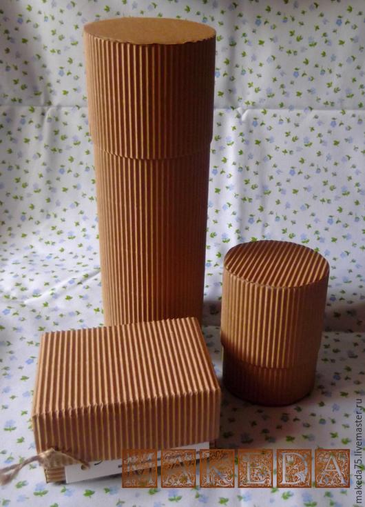 Упаковка ручной работы. Ярмарка Мастеров - ручная работа. Купить коробочки из гофро-картона. Handmade. Коричневый, круглая, бирка на заказ