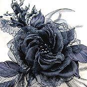 Украшения ручной работы. Ярмарка Мастеров - ручная работа Брошь из кружева  и шёлка Чёрная роза. Handmade.