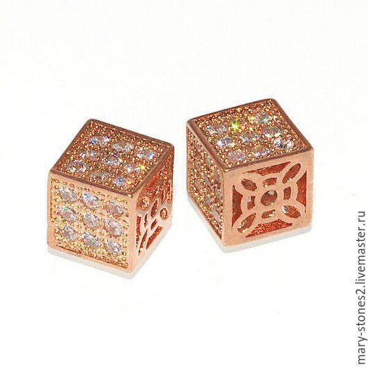 Для украшений ручной работы. Ярмарка Мастеров - ручная работа. Купить Бусина кубик 8мм с фианитами, красное золото. Handmade.
