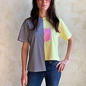 Одежда handmade. Livemaster - original item T-shirt colorblock straight asymmetrical strip. Handmade.