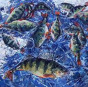 Картины и панно handmade. Livemaster - original item Oil painting the joy of the fisherman. Still life with fish.. Handmade.