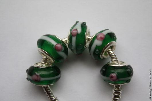 Для украшений ручной работы. Ярмарка Мастеров - ручная работа. Купить Бусины Пандора стеклянные Розы в зелени. Handmade. Пандора