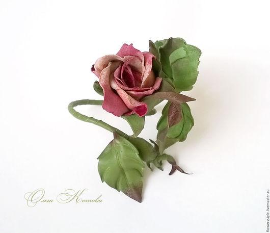 Браслеты ручной работы. Ярмарка Мастеров - ручная работа. Купить Браслет из кожи Чайная роза. Handmade. Розовый, браслет с цветами