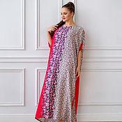 Одежда handmade. Livemaster - original item Chic floor-length oversize dress made of viscose in a small flower. Handmade.