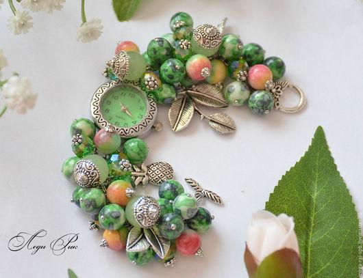 """Часы ручной работы. Ярмарка Мастеров - ручная работа. Купить Часы браслет """" Тропики"""". Handmade. Зеленый, пышный браслет"""