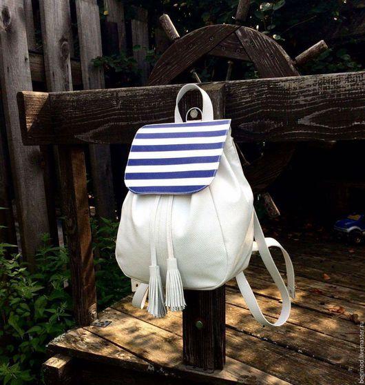 Рюкзаки ручной работы. Ярмарка Мастеров - ручная работа. Купить Рюкзак кожаный женский, белый со сменным клапаном. Handmade.