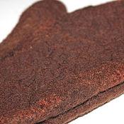 Аксессуары ручной работы. Ярмарка Мастеров - ручная работа Варежки валяные шерстяные теплые коричневые шоколадные натуральные. Handmade.