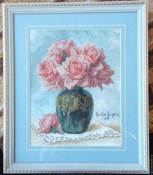 Картины цветов ручной работы. Ярмарка Мастеров - ручная работа. Купить розы в вазе. Handmade. Бирюзовый, авторская схема, розы