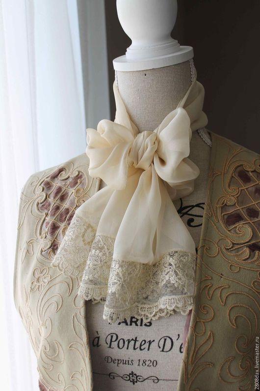 Шарфы и шарфики ручной работы. Ярмарка Мастеров - ручная работа. Купить Шелковый шарф, жабо, Викторианский стиль, шарф, шарфик. Handmade.