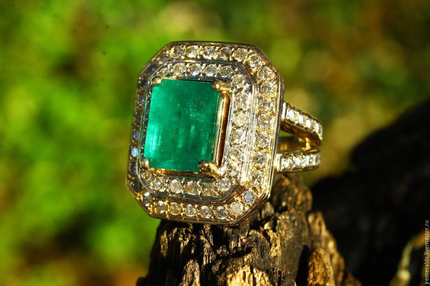 5.16tcw Colombian Emerald & Diamond Cocktail Women's Ring 14k Yellow G, Rings, West Palm Beach,  Фото №1