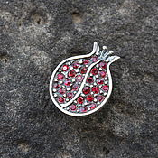 Украшения handmade. Livemaster - original item Garnet pendant with zircons made of 925 GA0049 silver. Handmade.