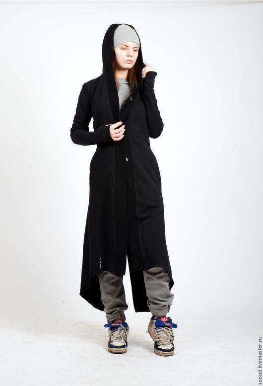 """Верхняя одежда ручной работы. Ярмарка Мастеров - ручная работа. Купить Пальто """"Скат"""". Handmade. Черный, пальто, трикотаж, стрит"""