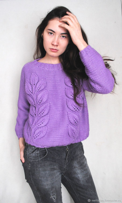 """Кофты и свитера ручной работы. Ярмарка Мастеров - ручная работа. Купить Джемпер, пуловер, свитер """"ФИАЛКОВЫЙ"""" из мериносовой шерсти. Handmade."""