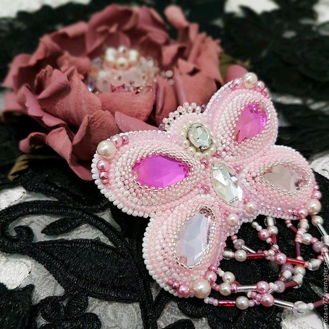 Брошь-бабочка розовая, Броши, Москва, Фото №1