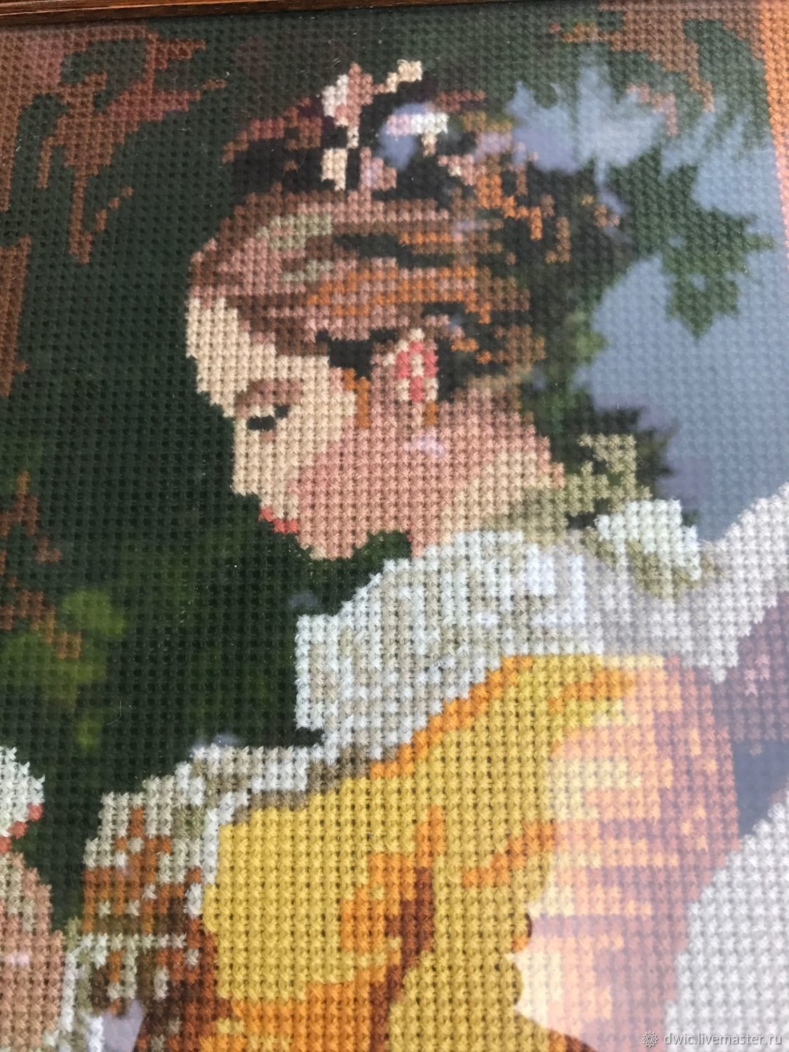 Handmade embroidery 'the Portrait of a young lady', the Netherlands, Vintage interior, Arnhem,  Фото №1