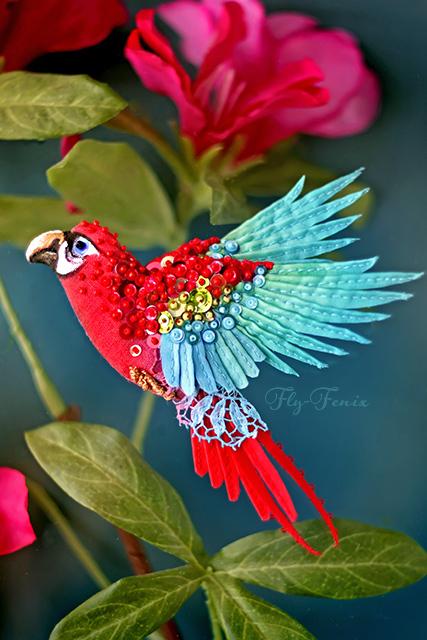 Броши ручной работы. Ярмарка Мастеров - ручная работа. Купить брошь - птица. Красно-синий Ара.. Handmade. Птица, миниатюра