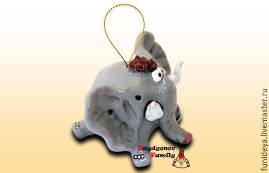 Колокольчики ручной работы. Ярмарка Мастеров - ручная работа. Купить Слон, керамический колокольчик. Серый слон. Слон колокольчик.. Handmade.