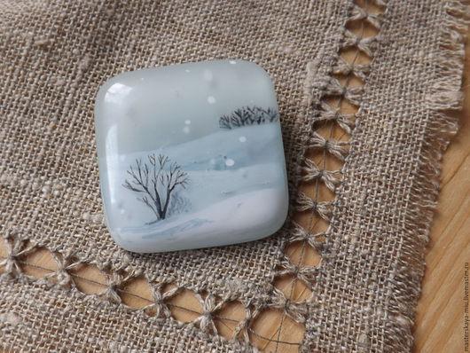 """Броши ручной работы. Ярмарка Мастеров - ручная работа. Купить Брошь """"Снег над полями"""". Handmade. Серый, деревья, светлый"""