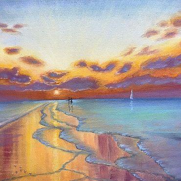 Картины и панно ручной работы. Ярмарка Мастеров - ручная работа Картина маслом Лазурное море, закат, холст на картоне. Handmade.