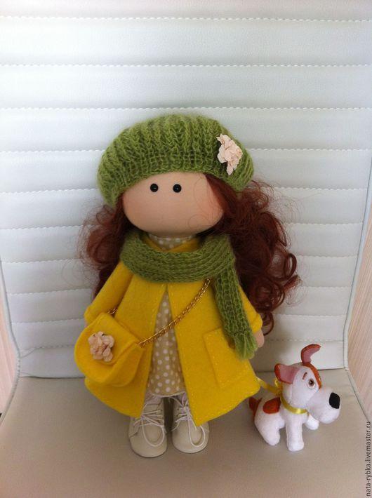 Куклы тыквоголовки ручной работы. Ярмарка Мастеров - ручная работа. Купить текстильная интерьерная кукла. Handmade. Желтый, кукла малышка