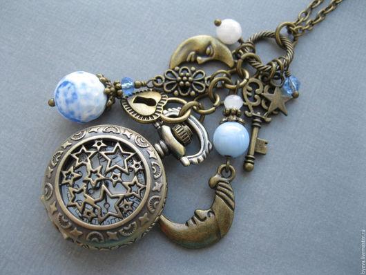 Часы ручной работы. Ярмарка Мастеров - ручная работа. Купить Часы кулон голубой агат.. Handmade. Часы, часы кулон