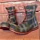 Обувь ручной работы. Ярмарка Мастеров - ручная работа. Купить Валяные ботинки Клетчатые Темная зелень. Handmade. Тёмно-зелёный