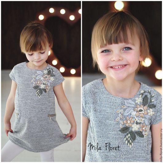 Платье с вкраплением золотой нити и объёмной цветочное вышивкой размер 104 для девочки 5 лет, авторская ручная работа