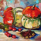 Картины и панно handmade. Livemaster - original item Oil painting Pumpkins autumn. Handmade.